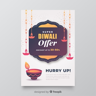 Platte diwali verkoop folder sjabloon met aanbieding