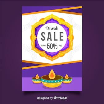 Platte diwali verkoop folder sjabloon