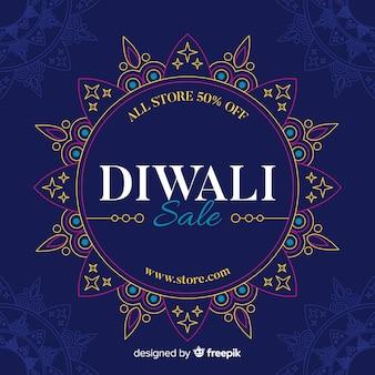 Platte diwali verkoop met abstract zonontwerp