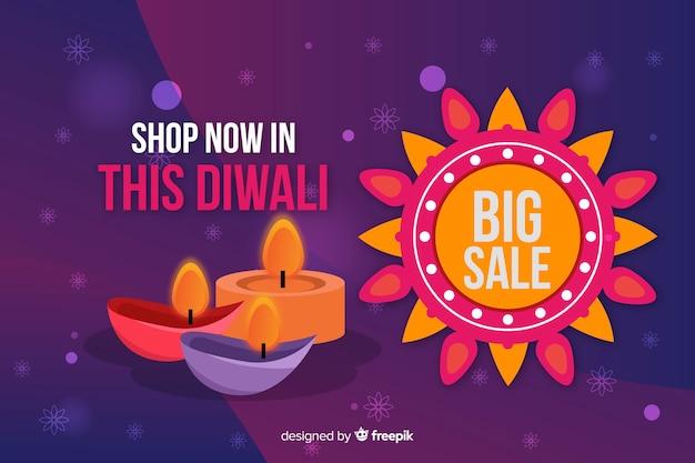 Platte diwali verkoop met kaarsen