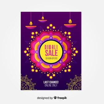 Platte diwali verkoop poster met kaarsen