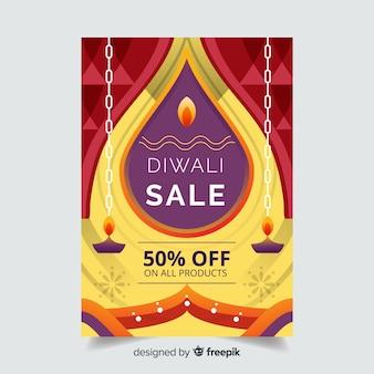 Platte diwali verkoop poster sjabloon
