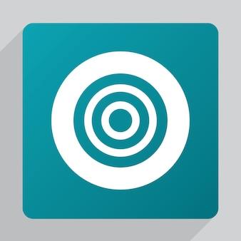 Platte doelpictogram, wit op groene achtergrond
