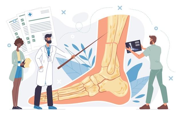 Platte dokter stripfiguren in uniforme laboratoriumjassen