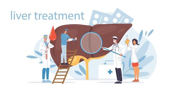 Platte dokter stripfiguren in uniformen en symbolen leverziekte illustratie