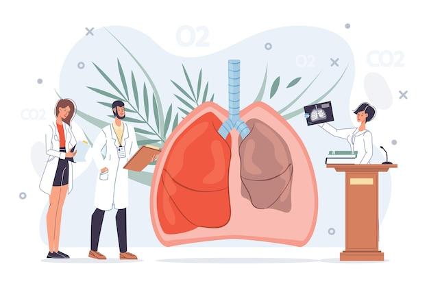 Platte dokter stripfiguren op het werk, artsen met medische hulpmiddelen