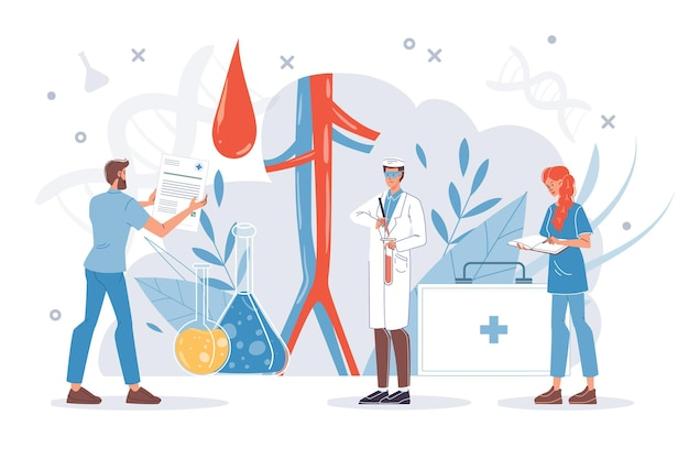 Platte dokter stripfiguren op het werk en therapie concept