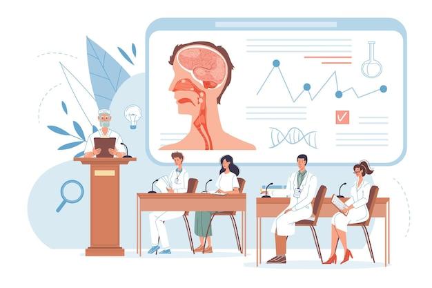 Platte dokter stripfiguren op het werk in uniform