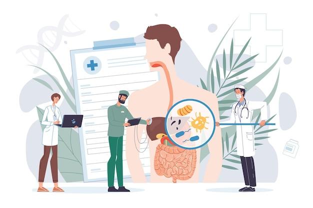 Platte dokter stripfiguren op het werk