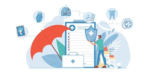 Platte dokter stripfiguur op het werk medische verzekering