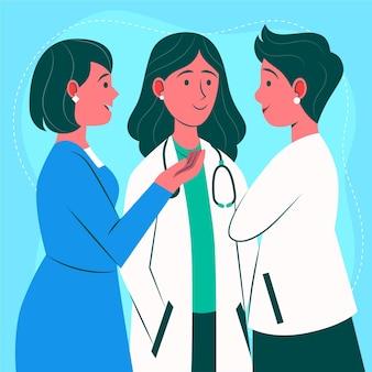 Platte dokters en verpleegsters praten