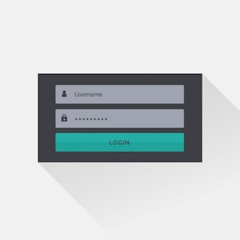 Platte donkere login box interface design met schaduw