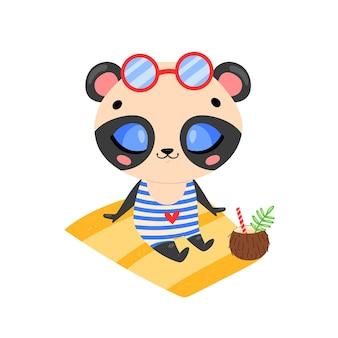 Platte doodle schattige cartoon zomer panda beer zonnebaden op het strand. tropische jungle dieren