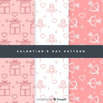 Platte doodle valentijn patroon set
