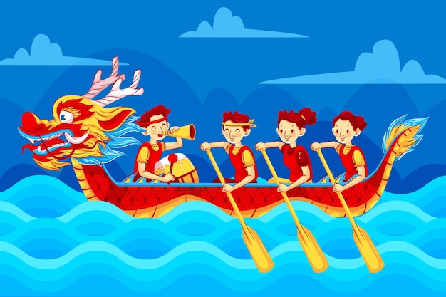 Platte drakenboot met gelukkige roeiers achtergrond