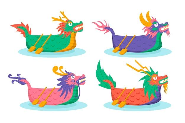 Platte drakenbootcollectie