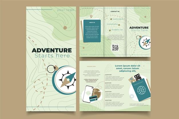 Platte driebladige brochure voor avonturen