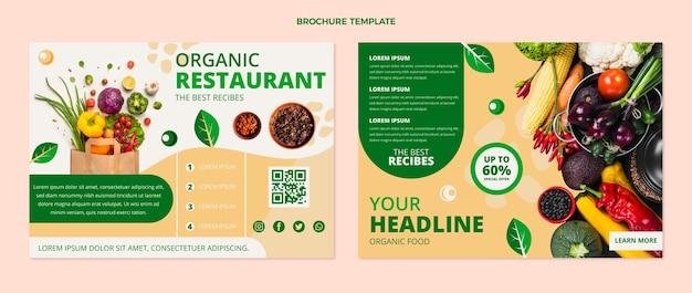 Platte driebladige brochuresjabloon voor biologisch voedsel