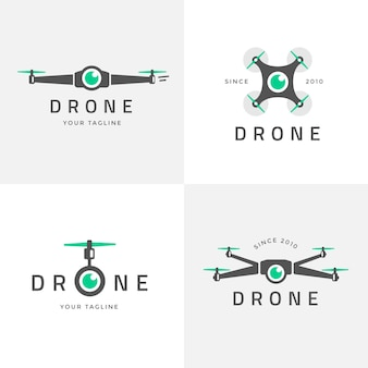 Platte drone logo-collectie