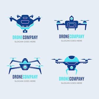 Platte drone logo-collectie