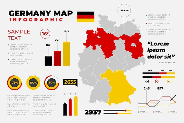 Platte duitsland kaart infographic