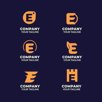 Platte e-logo ontwerpsjablonen