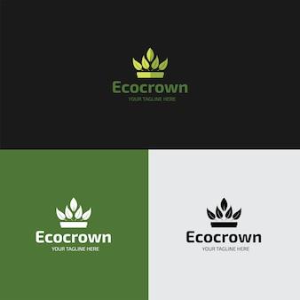 Platte eco crown logo ontwerpsjabloon