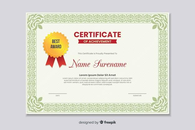 Platte educatieve certificaat van prestatie