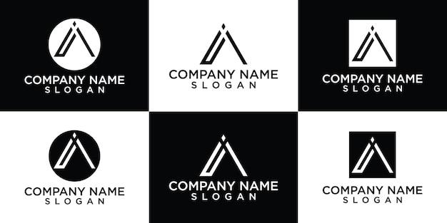 Platte een logo-ontwerpsjablonen Premium Vector
