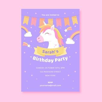 Platte eenhoorn verjaardagsuitnodiging