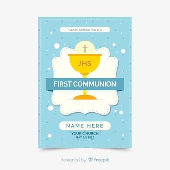 Platte eerste communie uitnodigingssjabloon