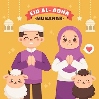 Platte eid al-adha illustratie Gratis Vector