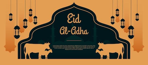 Platte eid al adha mubarak ontwerpbanner