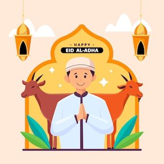 Platte eid al-adha viering illustratie
