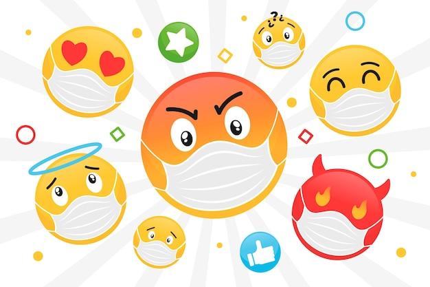 Platte emoji met gezichtsmaskerbehang