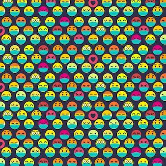 Platte emoji met gezichtsmaskerpatroon