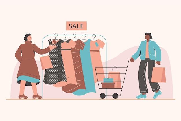 Platte en kleurrijke illustratie van mensen die winkelen