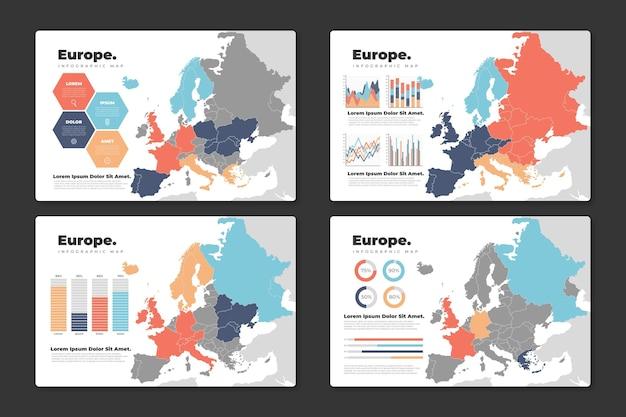 Platte europa kaart infographic