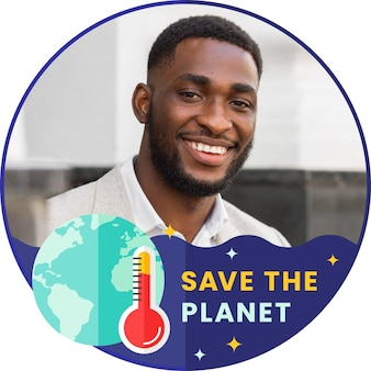 Platte facebook-frame voor klimaatverandering