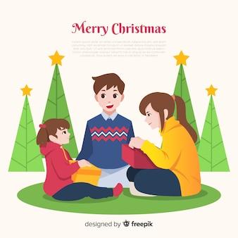 Platte familie kerst achtergrond sjabloon