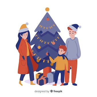 Platte familie kerst achtergrond