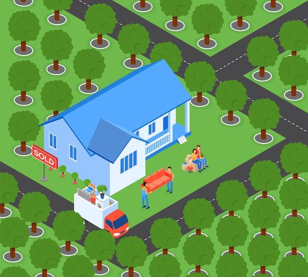 Platte familie verplaatst naar nieuwe huis vectorillustratie.