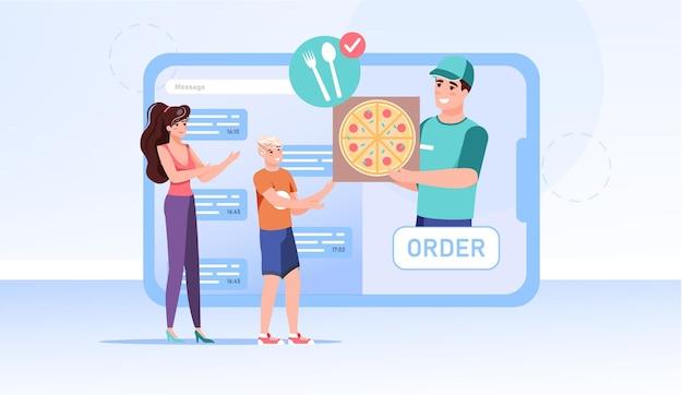 Platte familiekarakters die online bestellingen geven]