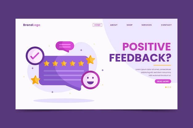 Platte feedback bestemmingspagina sjabloon