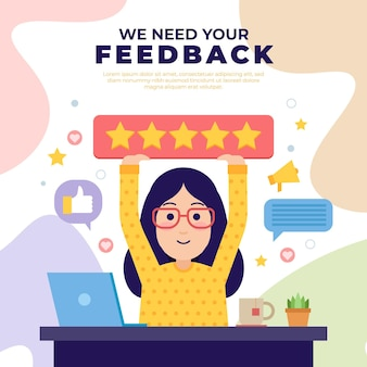 Platte feedback concept illustratie
