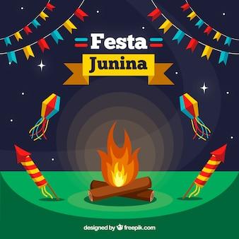 Platte festa junina achtergrond met vreugdevuur