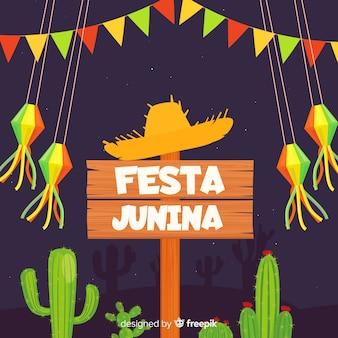 Platte festa junina achtergrond