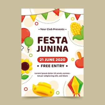 Platte festa junina flyer-sjabloon