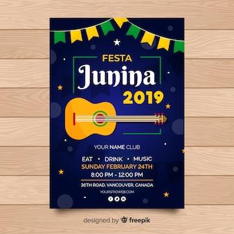 Platte festa junina poster sjabloon