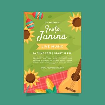 Platte festa junina verticale poster sjabloon